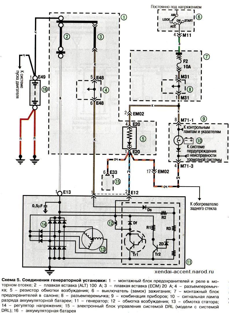 Электросхема соединений генератора Хундай Акцент Hyundai Accent (хендай) .